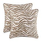 Zebra Print Square Throw Pillows in Natural (Set of 2)
