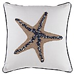 Beaded Starfish Square Throw Pillow in Natural/Blue