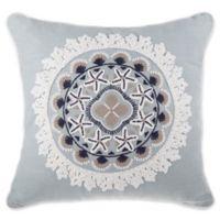 Coastal Medallion Square Throw Pillow in Blue
