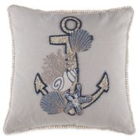Anchor Embellished Square Throw Pillow in Natural