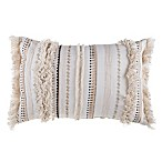 Moroccan Embroidered Oblong Throw Pillow in Natural
