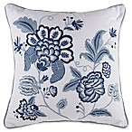 Jacobean Embroidered Square Throw Pillow in Navy