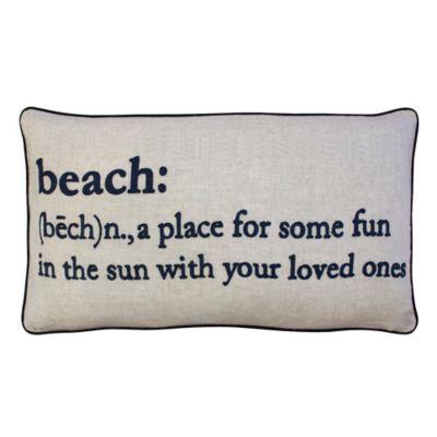 Beach Definition Rectangular Throw Pillow In Khaki/Navy