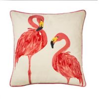 Flamingo Pair Square Throw Pillow in Coral