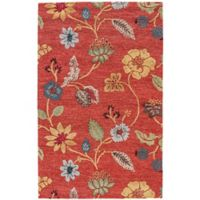 Jaipur Blue Collection Floral 5-Foot x 8-Foot Area Rug in Red Multi