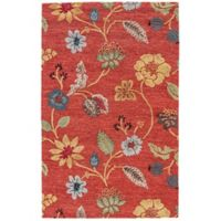 Jaipur Blue Collection Floral 9-Foot 6-Inch x 13-Foot 6-Inch Area Rug in Red Multi