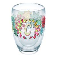 "Tervis® Flower Burst Initial ""C"" 9 oz. Wrap Stemless Wine Glass"