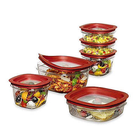 Rubbermaid 174 Premier 12 Piece Food Container Set In Red