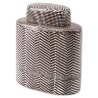 Zuo® Small Tribal Print Covered Jar in Brown/White