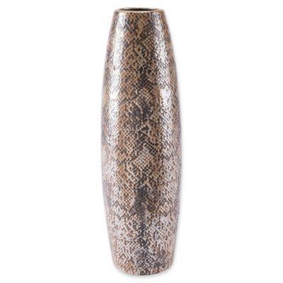 Zuo Tall Snakeskin Vase In Brown