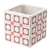 Zuo® Cement Squares Planter in Red and Orange