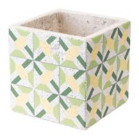 Zuo® Cement Flower Planter in Green and Yellow
