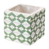 Zuo® Cement Tribal Planter in Green and Yellow