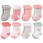 Hudson Baby® Size 0-6M 8-Pack Bird and Rose Terry Rolled Cuff Socks