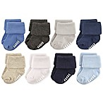 Hudson Baby® Size 6-12M 8-Pack Non-Skid Cuff Socks in Blue/Grey