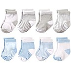 Hudson Baby® Size 0-6M 8-Pack Basic Crew Socks in Blue/Grey