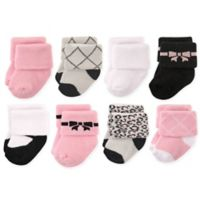 Hudson Baby® Size 0-6M 8-Pack Bows Terry Rolled Cuff Socks