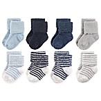 Hudson Baby® Size 6-12M 8-Pack Stripe Chenille Socks in Navy/Grey