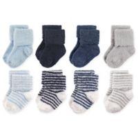 Hudson Baby® Size 12-24M 8-Pack Stripe Chenille Socks in Navy/Grey