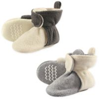 Hudson Baby® 2-Pack Size 0-6M Fleece Scooties Slipper in Beige/Grey