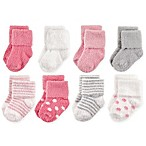 Hudson Baby® Size 0-6M 8-Pack Dots and Stripes Chenille Socks in Pink/Grey