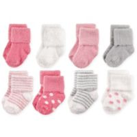 Hudson Baby® Size 12-24M 8-Pack Dots and Stripes Chenille Socks in Pink/Grey