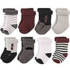 Hudson Baby® Size 0-6M 8-Pack Gentleman Terry Rolled Cuff Socks