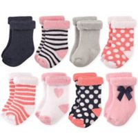 Hudson Baby® Size 0-6M 8-Pack Heart Terry Rolled Cuff Socks
