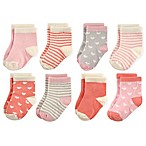 Hudson Baby® Size 0-6M 8-Pack Crew Socks in Coral/Pink