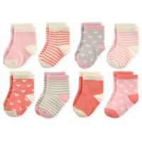 Hudson Baby® Size 6-12M 8-Pack Crew Socks in Coral/Pink