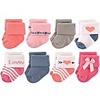 Hudson Baby® Size 0-6M 8-Pack Love Terry Rolled Cuff Socks