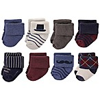 Hudson Baby® Size 0-6M 8-Pack Gentleman Terry Cotton Socks