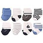 Hudson Baby® Size 6-12M 8-Pack Nautical Terry Rolled Cuff Socks in Light Blue/Navy