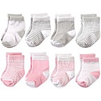 Hudson Baby® Size 0-6M 8-Pack Basic Crew Socks in Pink/Grey