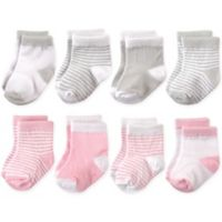 Hudson Baby® Size 12-24M 8-Pack Basic Crew Socks in Pink/Grey