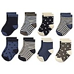 Hudson Baby® Size 6-12M 8-Pack Stars and Stripes Crew Socks in Navy/Charcoal