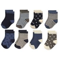 Hudson Baby® Size 4T-6T 8-Pack Stars and Stripes Crew Socks in Navy/Charcoal