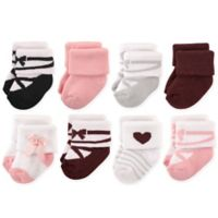 Hudson Baby® Size 6-12M 8-Pack Ballet Terry Rolled Cuff Socks