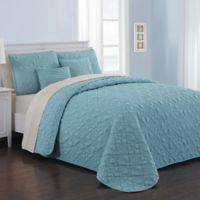 Avondale Manor Del Ray 9-Piece Reversible King Quilt Set in Blue/Taupe
