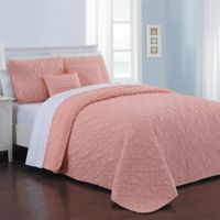 Avondale Manor Del Ray 9-Piece Reversible Queen Quilt Set in Coral/White