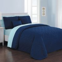 Avondale Manor Del Ray 9-Piece Reversible King Quilt Set in Navy/Light Blue