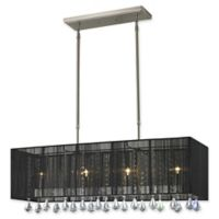 Filament Designs Caterina Rectangular Shaded 4-Light Island Fixture in Black
