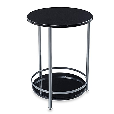 Round Side Table with Bottom Storage Shelf in Black