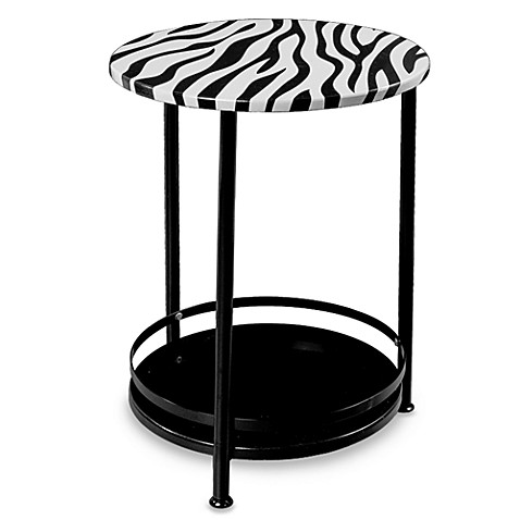 Round Side Table With Bottom Storage Shelf   Zebra