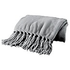 Great Bay Home Raya Fringed Ultra Plush Throw Blanket in Dove Grey