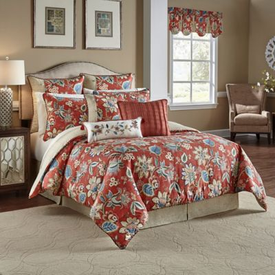 waverly brighton blossom reversible king comforter set in red