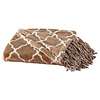 Great Bay Home Lattice Fringed Ultra Plush Throw Blanket in Taupe