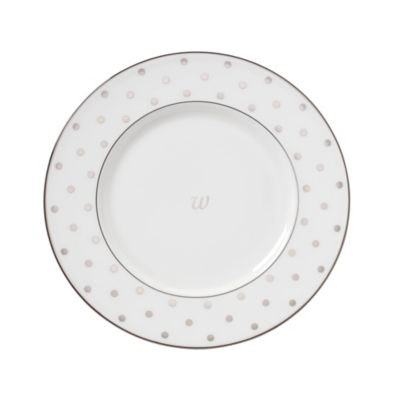 kate spade new york Larabee Road™ Platinum Monogram Letter \ W\  Accent Plate  sc 1 st  Bed Bath \u0026 Beyond & Buy Monogrammed Dinnerware from Bed Bath \u0026 Beyond