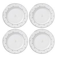 "kate spade new york Larabee Road™ Platinum Monogram Letter ""H"" Tidbit Plates (Set of 4)"