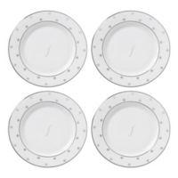 "kate spade new york Larabee Road™ Platinum Monogram Letter ""F"" Tidbit Plates (Set of 4)"